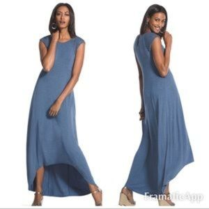 Chicos Blue Jersey Lattice Sleeve Hi Low Maxi